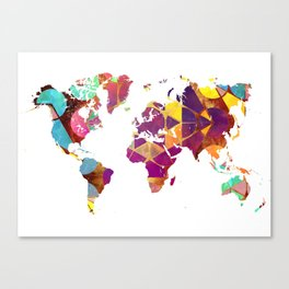 Map of the world colored geometric Canvas Print