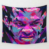 nba Wall Tapestries featuring RUSSELL WESTBROOK: NBA ILLUSTRATION V2 by mergedvisible