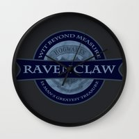 ravenclaw Wall Clocks featuring Ravenclaw by justgeorgia