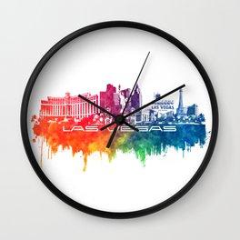 Las Vegas skyline city color Wall Clock