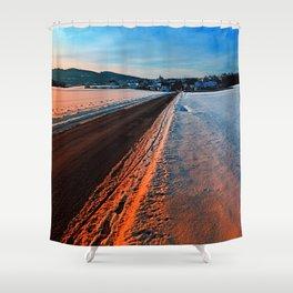 Winter road at sundown Shower Curtain
