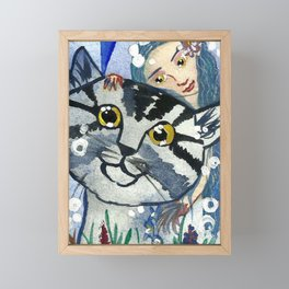 Golden Eyes Fairy and a Cat Framed Mini Art Print
