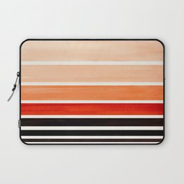 Brown Minimalist Watercolor Mid Century Staggered Stripes Rothko Color Block Geometric Art Laptop Sleeve