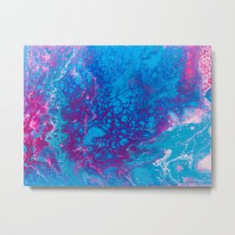 Smaller Reality - Abstract Teal, Turquoise, Purple + Pink Metal Print