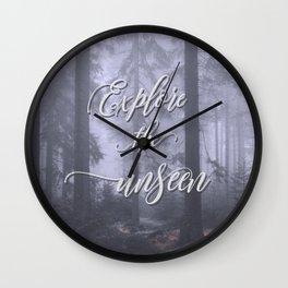 Explore the unseen mystic misty woods adventure Wall Clock