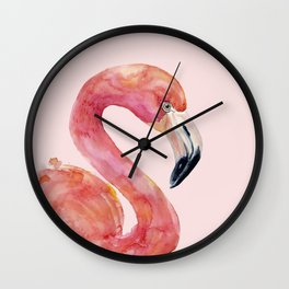 Pink Flamingo Summer Wall Clock