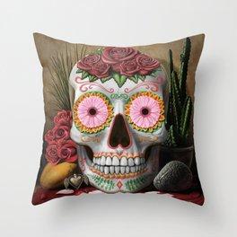 Flora - Sugar Skull with Cactus, Red Roses, Avocado and Papaya Throw Pillow
