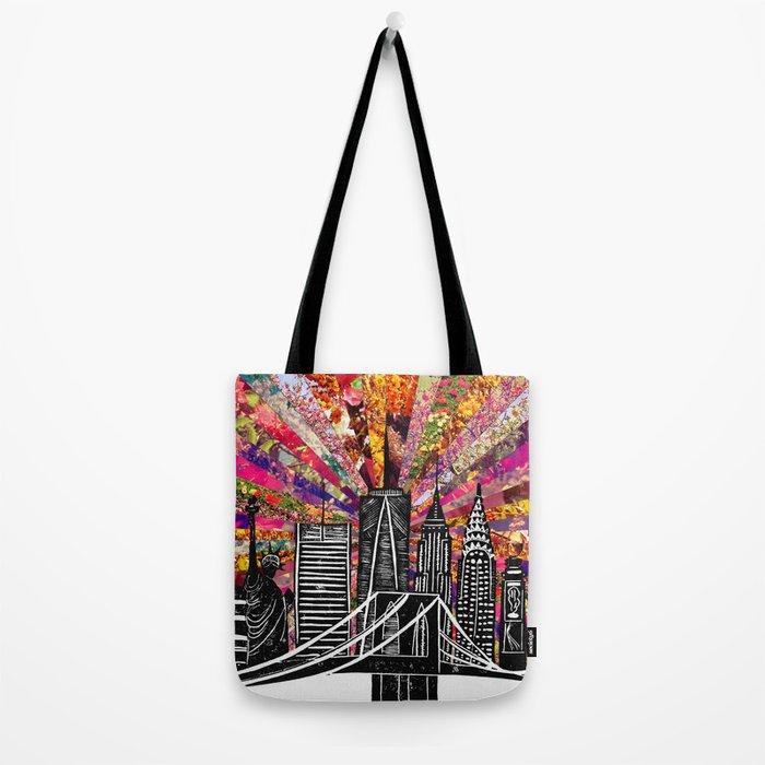 Linocut New York Blooming Tote Bag