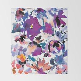 Sara Floral Blue Throw Blanket