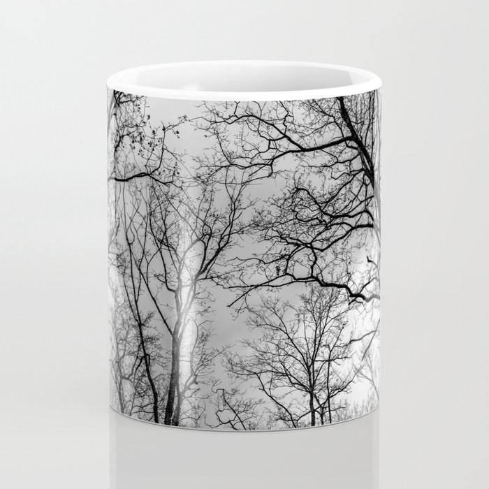 Flying tree branches, black and white Coffee Mug