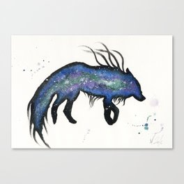 Green and Purple Nebula Wolf Canvas Print