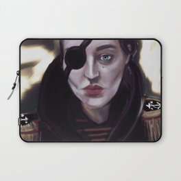 Pirate girl with eye patch and epaulettes Laptop Sleeve