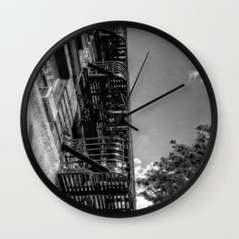 fire escape - building in manhattan, nyc Wall Clock