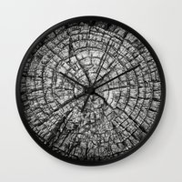 tree rings Wall Clocks featuring Tree Rings by Tanya Harrison Photography