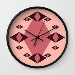 Rosy Diamonds Wall Clock