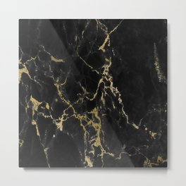 Black Gold Marble Metal Print