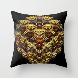 Golden, Highly Detailed 3-D Fractal Rendering Throw Pillow