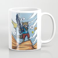 rocket raccoon Mugs featuring Rocket Raccoon and Baby Groot  by BlacksSideshow
