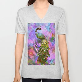Peacock Watercolor Unisex V-Neck