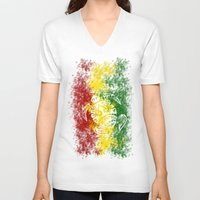 rasta V-neck T-shirts featuring Rasta Honu by Lonica Photography & Poly Designs