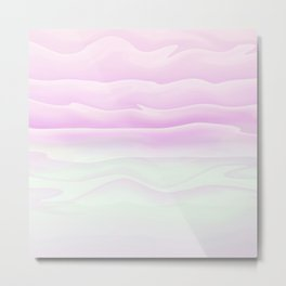 Girly Pink and White Watercolor Abstract Waves Metal Print