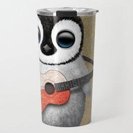Baby Penguin Playing Polish Flag Acoustic Guitar Travel Mug