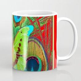 BEAUTIFUL GREEN BUTTERFLY & PEACOCK FEATHERS RED ART Coffee Mug