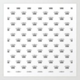 Wedding White Silver Crowns Art Print