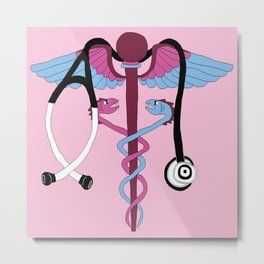 medical caduceus and stethoscope, pink Metal Print