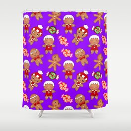 Cute Christmas seamless pattern. Happy festive gingerbread men and sweet xmas caramel candy. Shower Curtain