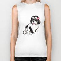 shih tzu Biker Tanks featuring Shih Tzu Puppy  by Artist Abigail