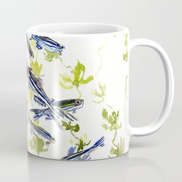 Fish Blue green fish design zebra fish, Danio aquarium Aquatic design underwater scene Coffee Mug