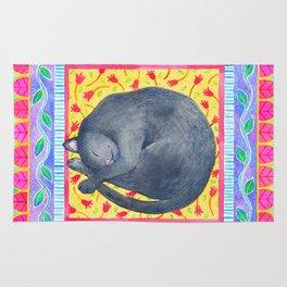 Sleepy Grey Cat Rug
