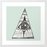 All-Seeing Eye on Pale Green Art Print