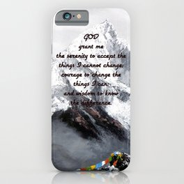 Serenity Prayer With Panoramic View Of Everest Mountain iPhone Case