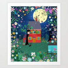 Emmas Full Moon Party Art Print