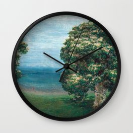 Flowering Chestnut Trees by the Sea landscape painting by Emilie Mediz Pelikan Wall Clock