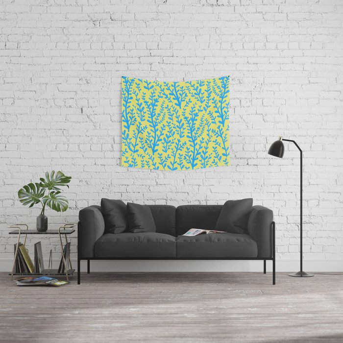 Yellow and Blue Floral Leaves Gouache Pattern Wall Tapestry