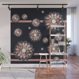 Pink and grey flowers Wall Mural