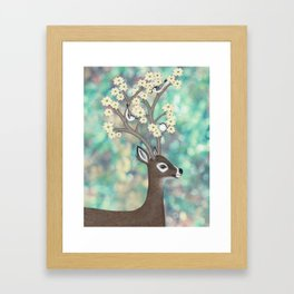 white tailed deer, white breasted nuthatches, & dogwood blossoms Framed Art Print