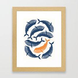 Whale Dance - Blue & Orange Framed Art Print