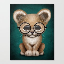 Cute Baby Lion Cub Wearing Glasses on Blue Canvas Print