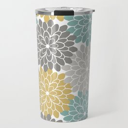 Pastel Petals in Light Amber, Light Opal, Pale and Dark Grey Travel Mug