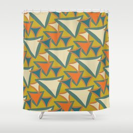 Decades Young 70's Living Room Triangles Shower Curtain