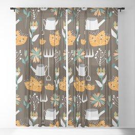 Gardening day Sheer Curtain
