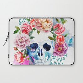 Watercolor skull & flowers Laptop Sleeve