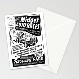 Midget Auto Races, Race poster, vintage poster, bw Stationery Cards