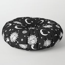 Linocut black and white sun moon and stars outer space zodiac astrology gifts Floor Pillow