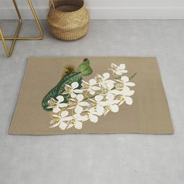 White Orchids Botanical Print on a Tan Background Rug
