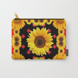 Red Western Yellow Sunflowers Art Carry-All Pouch